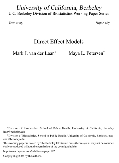 Direct Effect Models
